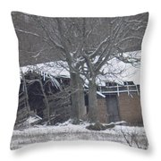 Old Snowy House Throw Pillow