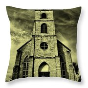 Old St. Mary's Church In Fredericksburg Texas In Sepia Throw Pillow