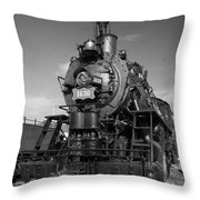 Old Steam Engine Black And White Throw Pillow