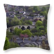 Old Stirling Bridge And Houses As Visible From Stirling Castle Throw Pillow