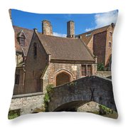 Old Stone Bridge In Bruges  Throw Pillow