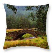 Old Stone Bridge Over Kinglas River. Scotland Throw Pillow
