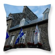 Old Stone Houses In Quebec City Canada  Throw Pillow