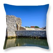 Old Stone Walls Of Nin Town Throw Pillow