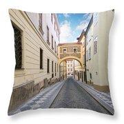 Old Street In Prague Throw Pillow