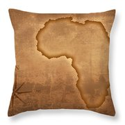 Old Style Africa Map Throw Pillow by Johan Swanepoel