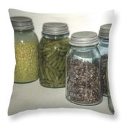 Old Style Vintage Kitchen Glass Jar Canning Throw Pillow