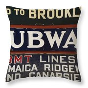 Old Subway Signs Throw Pillow