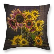 Old Sunflowers Throw Pillow