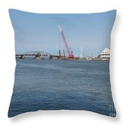 Old Swing Bridge Chincoteague Throw Pillow