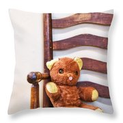 Old Teddy Bear Sitting In Chair Throw Pillow by Birgit Tyrrell