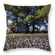 Old Time Farm And Cotton Fields Throw Pillow