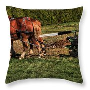 Old Time Horse Plowing Throw Pillow