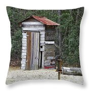 Old Time Outhouse And Pitcher Pump Throw Pillow