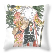 Old Time Santa With Teddy Throw Pillow