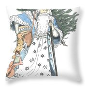 Old Time Santa With Violin2 Throw Pillow
