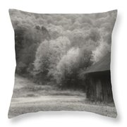 Old Tobacco Barn In Black And White Throw Pillow
