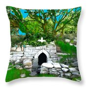 Old Tomb In The Countryside Ireland Throw Pillow