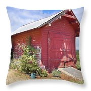 Old Tool Shed Red Barn Throw Pillow
