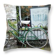 Old Town Bike Stop Throw Pillow