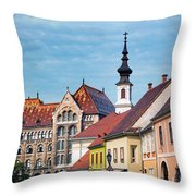 Old Town Buildings In Budapest Throw Pillow