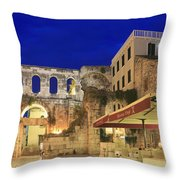 Old Town Of Split At Dusk Croatia Throw Pillow