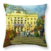 Old Town Square Throw Pillow
