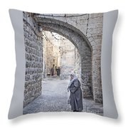 Old Town Street Of Jerusalem Israel Throw Pillow