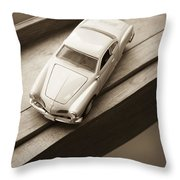 Old Toy Car On The Window Sill Throw Pillow