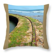 Old Tracks By The Ocean Throw Pillow