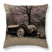Old Tractor And Redbuds Sepia Throw Pillow