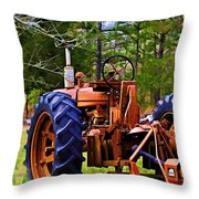 Old Tractor Digital Paint Throw Pillow