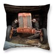Old Tractor Face Throw Pillow by Gary Heller
