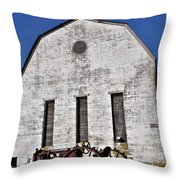 Old Tractor In Front Of Hay Barn Throw Pillow