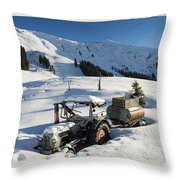 Old Tractor In Winter With Lots Of Snow Waiting For Spring Throw Pillow