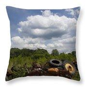 Old Tractor Junkyard Throw Pillow