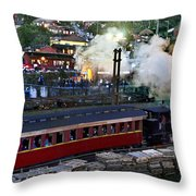 Old Train In The Village - Paranapiacaba Throw Pillow
