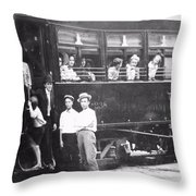 Old Train Station Black And White Throw Pillow