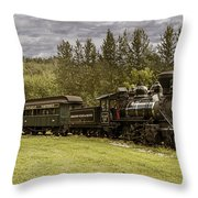 Old Train Steam Engine At The Fort Edmonton Park Throw Pillow