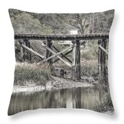 Old Train Trestle Throw Pillow