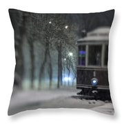 Old Tram On The  Street Throw Pillow
