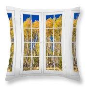Old Triple16 Pane White Window Colorful Autumn Aspen Forest View Throw Pillow
