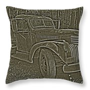 Old Truck In Sepia Throw Pillow