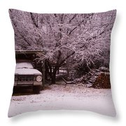 Old Truck In The Snow Throw Pillow