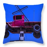 Old Truck With Cross Throw Pillow