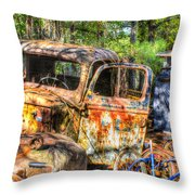 Old Trucks And Old Bicycles Throw Pillow