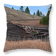 Old Turn Of The Century Log Cabin Homestead Art Prints Throw Pillow