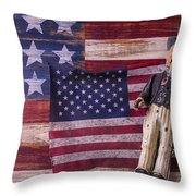 Old Uncle Sam And Flag Throw Pillow by Garry Gay