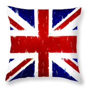 Old United Kingdom Flag Original Acrylic Palette Knife Painting Throw Pillow
