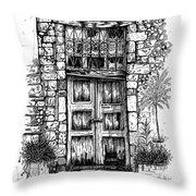 Old Venetian Door In Rethymno Throw Pillow